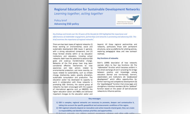 Policy brief on Regional ESD Networks (2018)